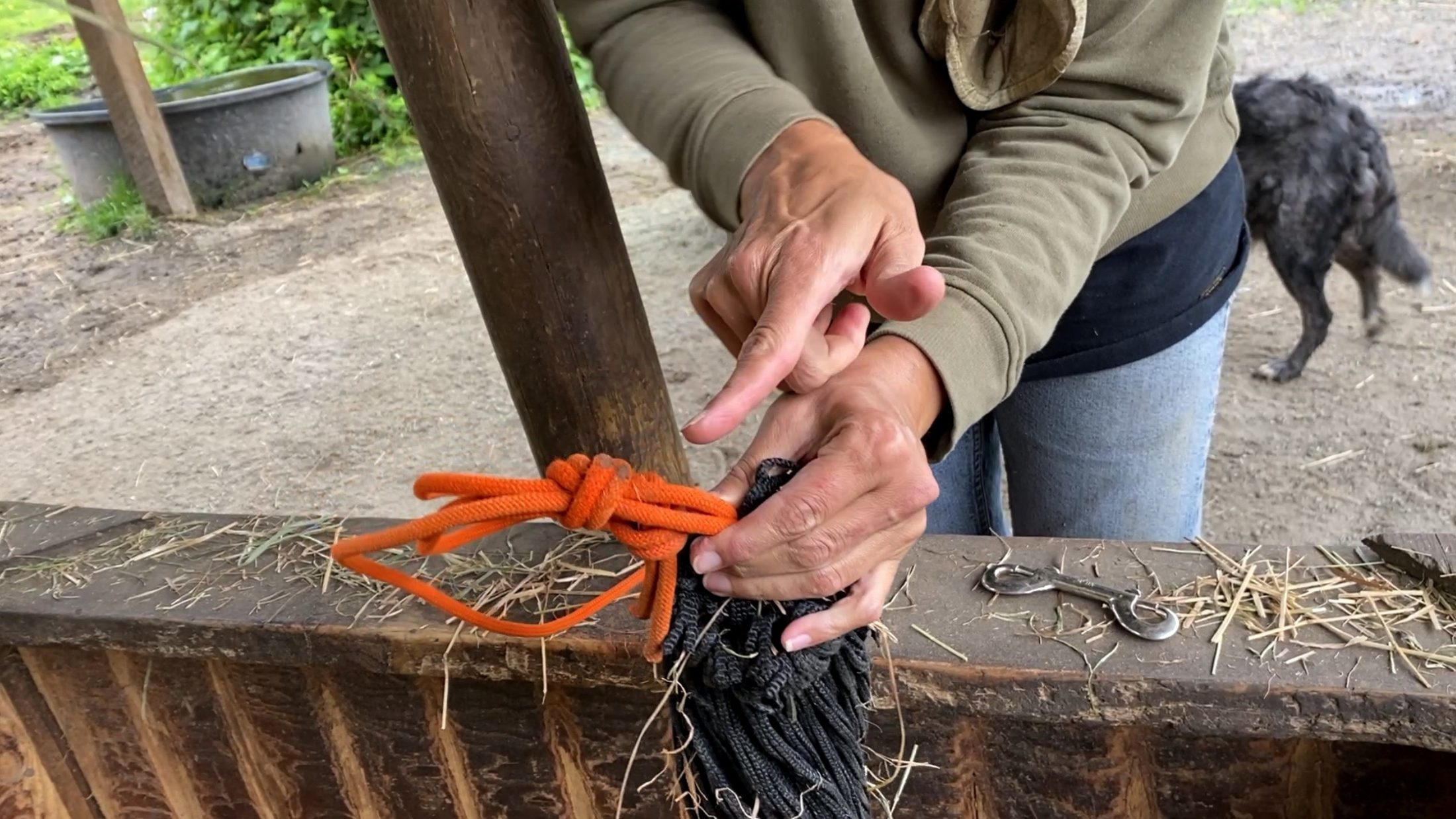 How To Untie a Haynet with a Stuck Knot